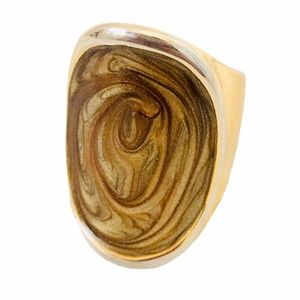 Taupe Swirl Large Fashion Ring with Faux Gold